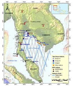 Hình 1. Vị trí khu vực sử dụng máy đo cao độ, đo thủy triều và GPS