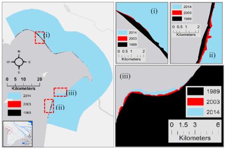 Hình 2. Biến động vùng bờ giai đoạn 1989 - 2014