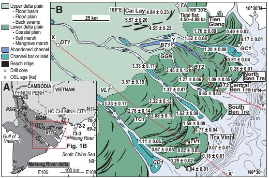 Hình 1B. Tuổi OSL các giồng cát ở đồng bằng châu thổ của Trà Vinh, Bến Tre, Cai Lậy, Tiền Giang