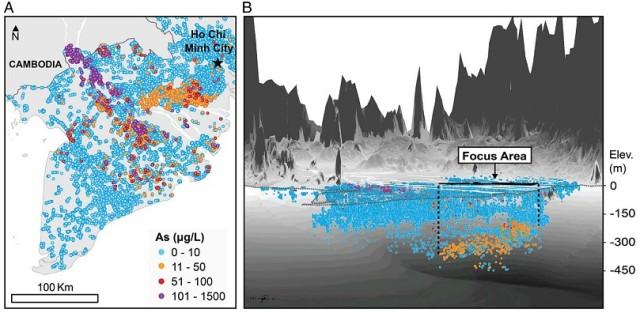 Hình 1: Ô nhiễm As trong nước ngầm ở đồng bằng sông Cửu Long, Việt Nam. Hình chiếu phẳng (A), chiếu thẳng đứng với độ phóng đại 150x (B)