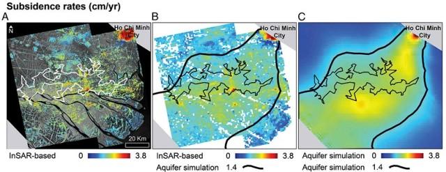 Hình 2: Ảnh InSAR (A), So sánh tỉ lệ sụt lún đất của ảnh InSAR và môn hình 3D (B) và Kết quả mô hình 3D mô phỏng sự chuyển tiếp giữa các tầng chứa nước (C)