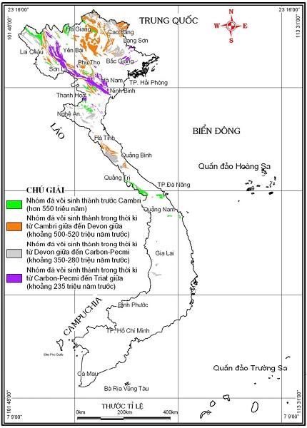 Hình 2. Sơ đồ phân bố đá vôi ở Việt Nam [2]