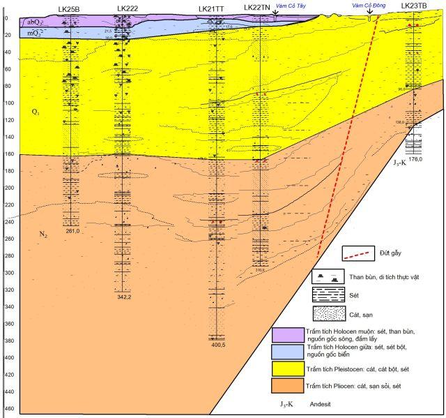 Hình 2. Mặt cắt địa chất