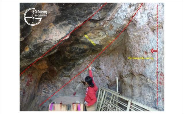 Hình 2. Di tích đứt gẫy chờm nghịch tại vách phía đông Thạch Động