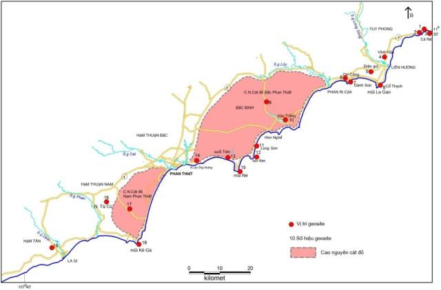 Hình 1. Vị trí các geosite ven biển Bình Thuận