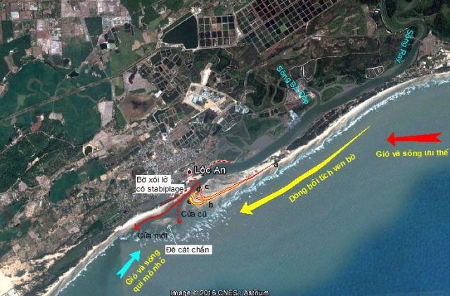 Hình 10. Doi cát dịch chuyển lạch sâu dẫn đến xói lở bờ tây cửa Lộc An