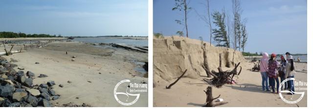 Hình 3. S cửa Lộc An (trái) và cồn cát bị xói lở (phải)