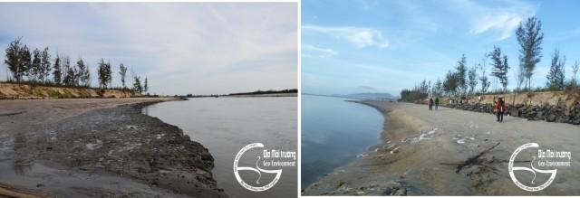 Hình 5. Xói vào tầng bột sét nằm dưới lớp cát (trái), kè bờ bằng đá và mũi nhô S (phải)