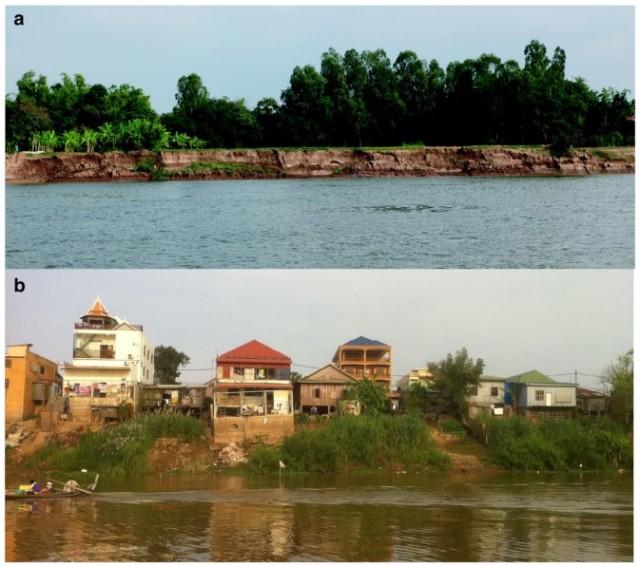 Ví dụ về xói lở bờ vào năm 2012 do những biến đổi động lực hình thái lòng sông chủ yếu gây ra từ hoạt động khai thác vật liệu đáy sông.