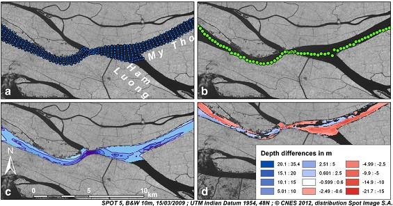 Hình 2. Dữ liệu độ sâu lòng sông và xử lý. (a) Ví dụ về lấy mẫu dữ liệu (số lượng mặt cắt ngang thay đổi phụ thuộc vào ngày và khu vực đo); (b) xây dựng đường đáy sông từ điểm sâu nhất trên từng mặt cắt; (c) ví dụ xử lý raster độ sâu (ô lưới 50 m và đường đẳng sâu 5 m); (d) ảnh phân loại độ sâu cho phép tính toán khối lượng vật liệu khai thác.