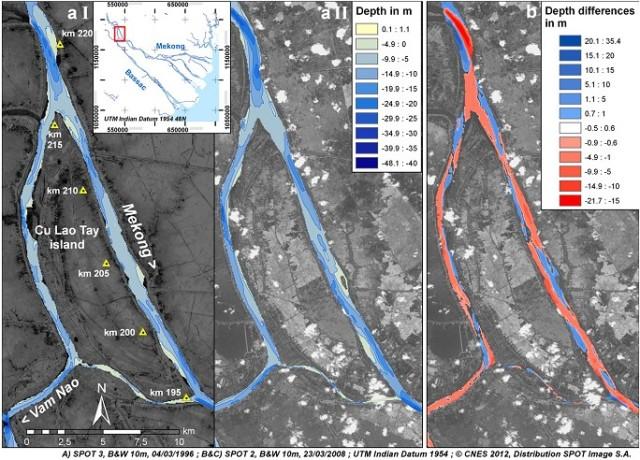 Hình 4. Tiến hóa hình thái khu vực Cù lao Tây (km 195-220). (aI) năm 1998; (aII) năm 2008; (b) tổng hợp biến đổi độ sâu giữa đợt khảo sát 1998 và 2008. Khu vực này cho thấy xói mòn đáy rộng khắp, đặc biệt sông Vàm Nao và các đới nông trên sông Tiền