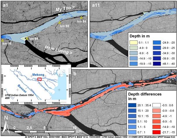 Hình 5. Tiến hóa hình thái đáy sông Mỹ Tho cho thấy sự xói mòn đáng kể từ giữa 1998 và 2008. (a1) bản đồ 1998 cho thấy bãi nông có độ sâu – 5 đến - 10 m; (a11) bản đồ 2008 thể hiện các hố sâu bất thường; (b) tổng hợp biến đổi độ sâu.