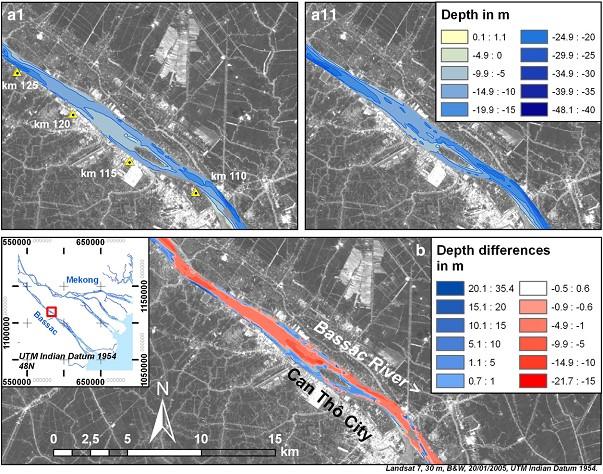 Hình 6. Tiến hóa hình thái đáy sông Hậu gần thành phố Cần Thơ 6 (km 110-125) cho thấy bãi nông, gờ nông và bãi bồi biến đổi đáng kể. (a1) năm 1998; (a11) năm 2008; (b) những biến đổi độ sâu giữa hai đợt điều tra.