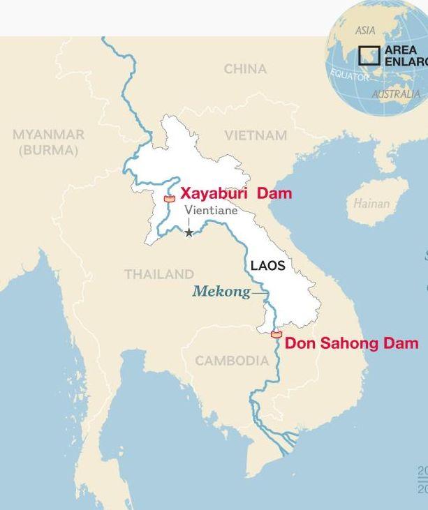 Vị trí đập Xayaburi và Don Sahong