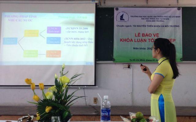 Bạn Ánh Nguyệt trình bày đề tài Nhu cầu sử dụng nước nông nghiệp và sinh hoạt huyện Eah'leo, tỉnh Đaklak
