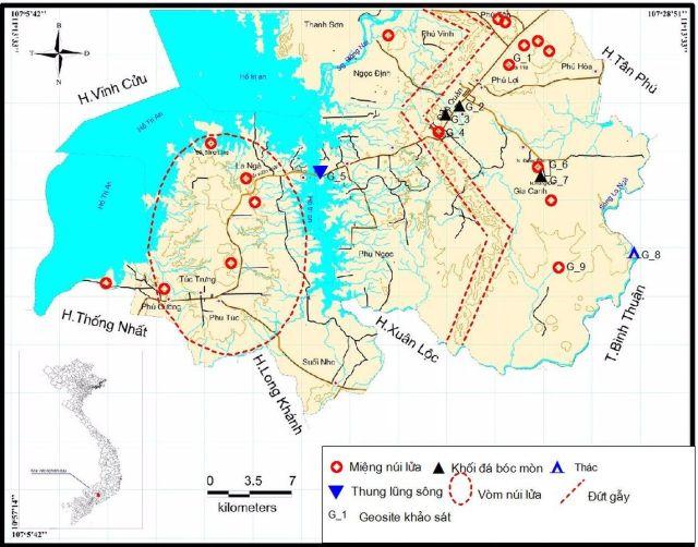 Hình 1: Các geosite khu vực Định Quán