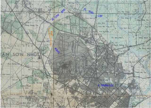 Hình 5. Bản đồ địa hình khu vực Tân Sơn Nhất năm 1968