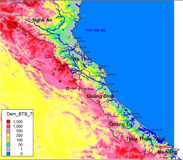 Hình 1: Địa hình, sông suối chính sườn Đông Trường Sơn Bắc.