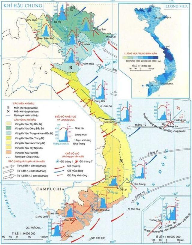 Hình 2: Bản đồ khí hậu Việt Nam. Nguồn [1]