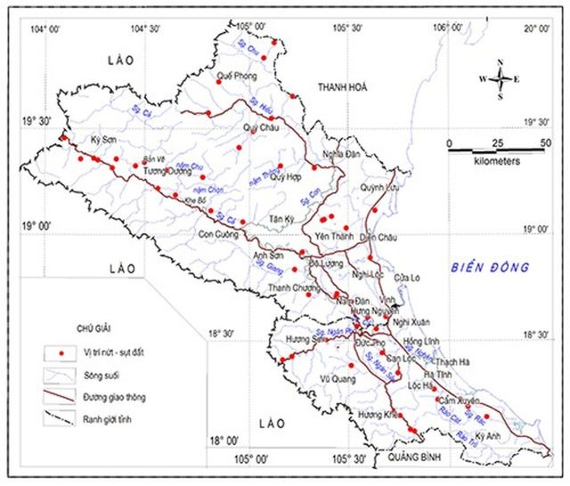 Hình 6: Sơ đồ hiện trạng nứt-sụt đất ở Nghệ-Tĩnh. Nguồn [4]