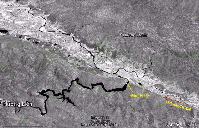 Hình 7: Đập Hố Hô gần như nằm trên đường đứt gẫy. Ảnh Google Earth 10.06.2011