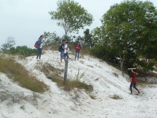 Đo lập mặt cắt đồi cát thủy tinh (sườn tây bắc)