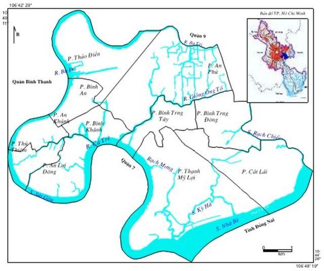 Hình 1. Bản đồ khu vực nghiên cứu