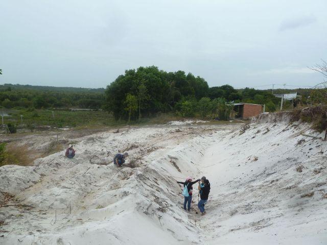 Đo vẽ mặt cắt đồi cát thủy trí đang khai thác)