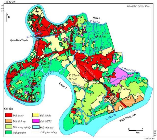 Hình 7. Bản đồ sử dụng đất Quận 2 năm 2005