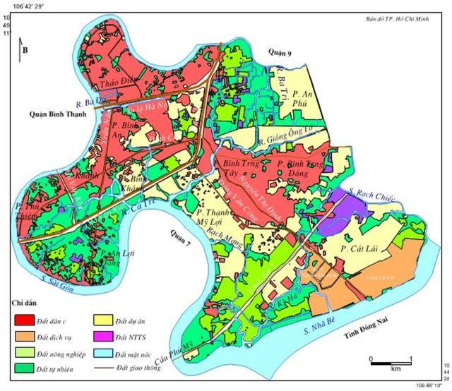 Hình 8. Bản đồ sử dụng đất Quận 2 năm 2010