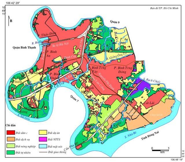 Hình 9. Bản đồ sử dụng đất Quận 2 năm 2015 Ghi chú: DDT- đất đô thị (dân cư); DDV- đất dịch vụ; DDA- đất dự án; DGT- đất giao thông; DNN- đất nông nghiệp; DTN- đất tự nhiên; DTS- đất thủy sản; DMN- đất mặt nước