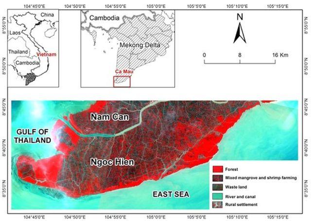 Hình 1. Vị trí KVNC tại tỉnh Cà Mau, VN