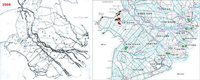 Hình 1. Mạng lưới kênh rạch ở ĐBSCL năm 1964 (trái) và năm 2011 (phải).