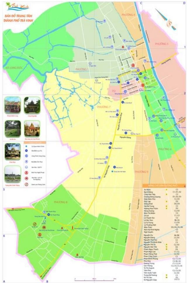 Hình 2: Bản đồ 1 – Bản đồ du lịch thành phố Trà Vinh