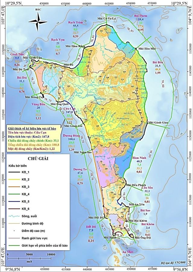 Hình 2. Phân chia lưu vực, tế bào và các kiểu bờ biển trên đảo Phú Quốc