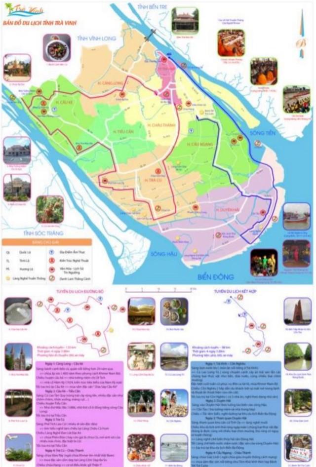 Hình 3: Bản đồ 2 – Bản đồ các tuyến du lịch tỉnh Trà Vinh