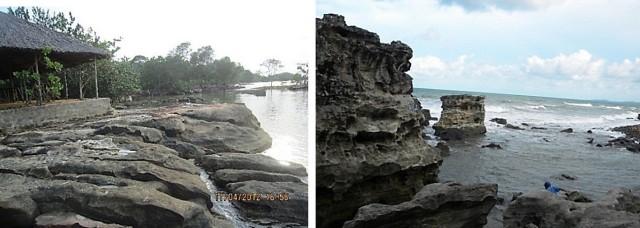 Hình 3. Kiểu bờ đá gốc mài mòn ở Gành Dầu Hình 4: Kiểu bờ lộ khối đá gốc sót ở Dinh Cậu